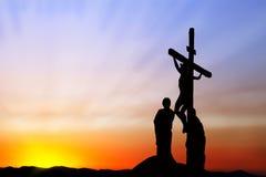 Crucificação de Jesus imagens de stock