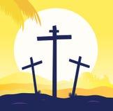 Crucificação de Jesus - cena do calvary com cruz três Fotografia de Stock Royalty Free