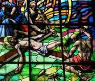 Crucificação de Jesus - vitral em Guimaraes Foto de Stock Royalty Free