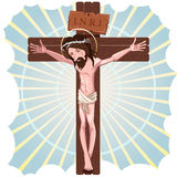 A crucificação do Jesus Cristo Imagem de Stock Royalty Free