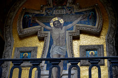 A crucificação do mosaico de Cristo Imagens de Stock Royalty Free