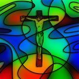 Crucificação do vitral Fotos de Stock