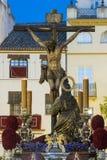 Crucificado de la hermandad de la hiniesta, semana santa de Sevilla Stock Photos