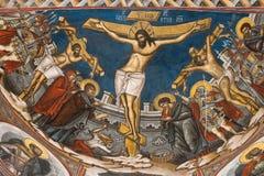Crucificação de Jesus. Ícone do monastério de Modovita Fotografia de Stock Royalty Free