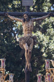 Crucified of the brotherhood of Thirst in the Holy Week in Seville Stock Images