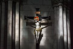 Crucified Christ. Crucification statue of Christ in York Minster stock photo