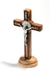 Crucified Christ on a natural wood cross Royalty Free Stock Image