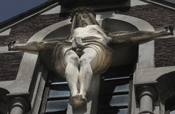 Crucified Jesus Christ (the ancient statue fragment) Royalty Free Stock Photos