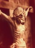 Crucified Jesus Christ  (an ancient wooden sculpture) Stock Images