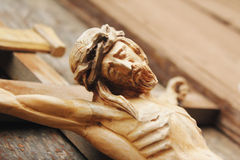 Crucified Jesus Christ on the cross Royalty Free Stock Photos