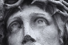 Crucified Jesus Christ, eyes (statue fragment). Eyes of crucified Jesus Christ  (details Royalty Free Stock Image