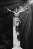 Crucified Jesus Christ. In the sunlight (details Stock Image