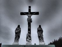 Crucified Jesus Tombstone Royalty Free Stock Images