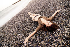 Crucified nella spiaggia Fotografia Stock Libera da Diritti