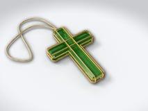 Crucifijo aislado en blanco con el colgante Foto de archivo