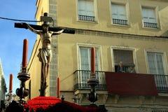 Crucifijo, celebración de Pascua en Jerez España Imagen de archivo