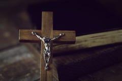 Crucifijo cristiano viejo Fotografía de archivo