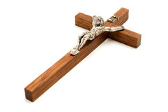 Crucifix. Wooden crucifix on a white background Stock Photography