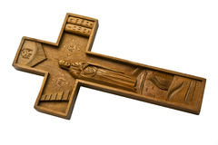 Crucifix. A cross is wooden crucifix isolated on a white background Stock Images