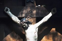 Crucifix. Wooden statue of Jesus Christ Royalty Free Stock Photography