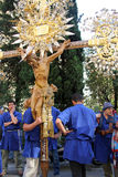 Crucifix. The bearers of Crucifix during the festivity of Santa Zita in Genoa, Italy stock image