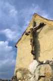 Crucifix. Wooden crucifix in rasnov's fortress stock photos