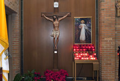 Crucifix altar at Saint Theresa Church in the Bronx Royalty Free Stock Photography