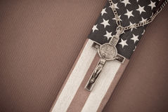 Crucifix on American Flag Royalty Free Stock Photography