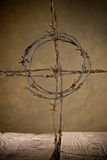 Crucifix from barbed wire Stock Photography