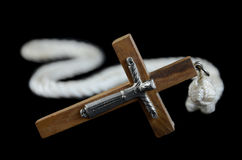 Crucifix on a black background Stock Photos
