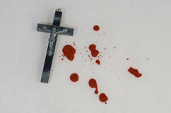 Crucifix and blood Royalty Free Stock Photo