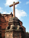 Crucifix Bom Jesus, Goa, India. Bom Jesus is the Basilica in Goa India. The imposing structure houses the remains of St Francis Xavier Royalty Free Stock Photo