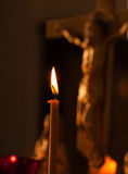 Crucifix candle Royalty Free Stock Photo