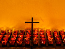Crucifix and Candles Royalty Free Stock Photography