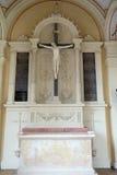 Crucifix, Catholic graves tombstones, Mirogoj cemetery in Zagreb. Croatia Royalty Free Stock Photos