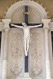 Crucifix, Catholic graves tombstones, Mirogoj cemetery in Zagreb. Croatia Stock Photos