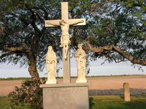 A crucifix in a cemetary royalty free stock photo
