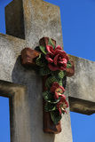 Crucifix with ceramic flowers Royalty Free Stock Image