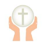 Crucifix christian or catholic icon image. Crucifix and hand christian or catholic icon image vector illustration design Royalty Free Stock Photography