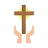 Crucifix christian or catholic icon image. Crucifix and hand christian or catholic icon image vector illustration design Royalty Free Stock Images