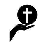 Crucifix christian or catholic icon image. Crucifix and hand christian or catholic icon image vector illustration design Stock Images