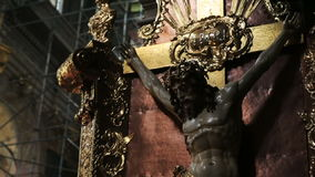 Crucifix in the church close up stock footage