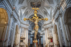 Crucifix in a church interior Royalty Free Stock Image