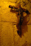 Crucifix at the Church of the Nativity. September 14, 2006 - A crucifix hangs inside the basement of the Church of the Nativity in Bethlehem, the West Bank. This Royalty Free Stock Photos