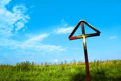 Crucifix in countryside Royalty Free Stock Photos