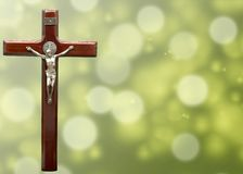 Crucifix cross and water drop bokeh for presentation and greeting cards royalty free stock photos