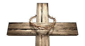 Crucifix With A Crown Of Thorns. A wooden cross that has a christian woven crown of thorns on it depicting the crucifixion on an isolated background Royalty Free Stock Photos