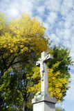 Crucifix on the edge of the forest. Royalty Free Stock Photography