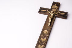 Crucifix with figure of Jesus on white background Royalty Free Stock Images