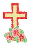 Crucifix. With flower as well as we will call cross stock illustration
